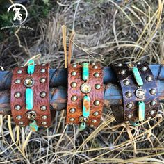 Tustin Cuff – leather turquoise stone cuff from Savannah Sevens Western Chic