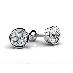 1.5 ct Round D/VVS1 Diamond 18K White Gold Over Stud Earrings by JewelryHub on Opensky