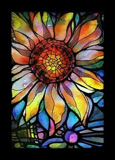 a painting that looks like stained glass Faux Stained Glass, Stained Glass Projects, Stained Glass Patterns, Stained Glass Tattoo, Mosaic Art, Mosaic Glass, Mosaics, Kaleidoscope Art, Art Fractal