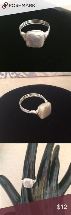 Freshwater Pearl Ring Rare Square shape Freshwater Pearl! Wire wrapped with Sterling Silver Plated wire. Custom SizeNote( Similar to shown as no two are exactly alike) Jewelry Rings