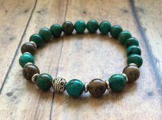 Green Turquoise Bracelet. Healing Energy Bracelet. Yoga Chakra Bracelet. Meditation Bracelet. Wrist Mala. Crystal Healing Jewelry. by TheGemNebula on Etsy #healingbracelet #cleansingbracelet #Chakrabracelet #beadedbracelet
