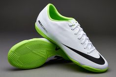 Nike Football Boots - Nike Mercurial Victory IV Indoor - Soccer Cleats -  White-Black-Electric Green 5049e593f0c90