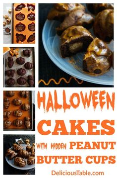 Easy Halloween Cakes with only 7 ingredients. Each cake has a Chocolate Peanut Butter Cup hidden inside, a sweet spooky treat to bake for Halloween parties! Delicious Cake Recipes, Fun Easy Recipes, Healthy Dessert Recipes, Cupcake Recipes, Halloween Food For Party, Halloween Cakes, Easy Halloween, Peanut Butter Candy, Chocolate Peanut Butter