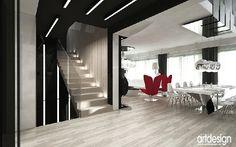 hol, schody jadalnia - wnętrza współczesnych domów