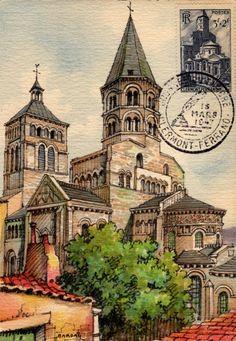 Timbre 1947 : CLERMONT-FERRAND Notre Dame du PORT - 1) N.D DU PORT: N.D du Port est une église collégiale de facture romane, qualifiée tardivement de basilique, située à Clermont-Ferrand dans le quartier du Port entre la place Delille et la cathédrale Notre Dame de l'Assomption. Du X°s à la Révolution, elle fut desservie par une communauté de chanoines réguliers dès avant le XIII°s. Elle est classé MH depuis 1840.
