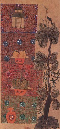 책거리 Korean Art, Korean Traditional, Bohemian Rug, Oriental, Folk, Rugs, Sketchbooks, Journals, Paintings