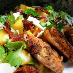 Lemon and Herb Chicken With Peach and Prosciutto Salad @keyingredient #chicken #glutenfree