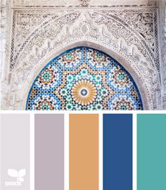 blue, turquoise, grey, orange