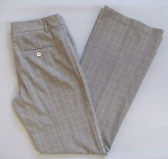 "Express Editor Dress Pants 4 Gray Black Plaid Polyester Stretch Flare Leg 32"" #Express #DressPants"