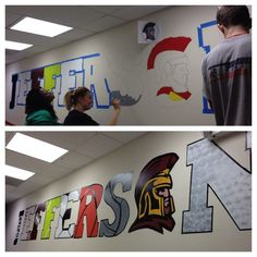 Jefferson High School Sports Mural – Hands on DC - Education High School Classroom, High School Art, School Fun, School Stuff, School Ideas, Dream School, School Office, Middle School, School Hallways