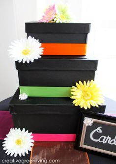 Tutorial: How to make a three tiered wedding card box from paper mache boxes