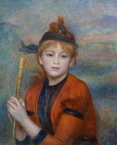 Auguste RENOIR, L'Excursionniste, vers 1888, huile sur toile, 61,5 x 50 cm © MuMa Le Havre / David Fogel.    Caractéristique des représentations de jeunes filles peintes par Renoir dans la première décennie du XXe siècle, ce tableau à l'atmosphère calme et lumineuse apparaît comme une image parfaite du bonheur, telle que nous l'ont transmise les maîtres de l'impressionnisme.