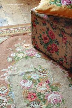Textures; vintage needlepoint rug and cushion on an oak floor. www.vintage-home.co.uk