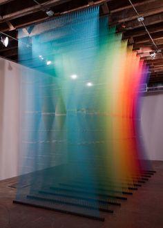 Thread instalations by Gabriel Dawe