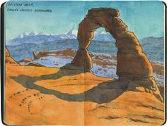 The iconic Delicate Arch, Arches National Park, Utah. Moleskine Sketchbook, Travel Sketchbook, Sketchbook Drawings, Sketchbook Ideas, Watercolor Sketch, Watercolor Landscape, Watercolor Illustration, Landscape Art, Water Sketch