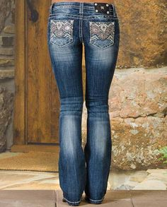 Miss Me Women's Aztec Medium Wash Boot Cut Jeans #denim with fading, honeycombing, whiskering.