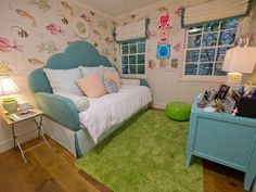 Small Space, Big on Color  Just 10' x 10', this whimsical girl's room was previously the home office. Mom and designer Kathleen DiPaolo put small-space tricks to work and used her daughter's love of the ocean to create an underwater haven for 10-year-old Posy.