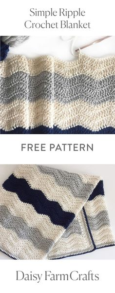 FREE PATTERN Simple Ripple Crochet Blanket by Daisy Farm Crafts