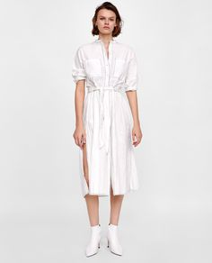 Image 1 of CREASED-EFFECT DRESS WITH TOPSTITCHING from Zara