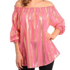 Brand new - slightly sheer blouse with elasticized shoulders -looks great with waist cinched with a belt! Medium being displayed on mannequin - comes new without tags attached in bag