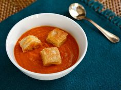 Tomato Soup with tasty Grilled Cheese Croutons - Kid-friendly recipe from Catherine McCord and Weelicious Lunches. Easy, healthy, delicious.