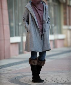Gray hoodie winter wool coat overcoat by MaLieb on Etsy, $129.00 Love