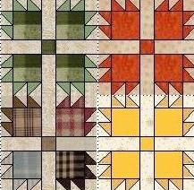 a grouping of bear claw quilt blocks