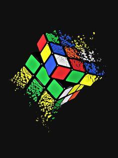 Illustrations Discover Rubik Cube Shattered Art T-Shirt Classic T-Shirt by InitialEnvy Game Wallpaper Iphone, Pop Art Wallpaper, Graffiti Wallpaper, Phone Screen Wallpaper, Apple Wallpaper, Cellphone Wallpaper, Galaxy Wallpaper, Cartoon Wallpaper, Illusion Art