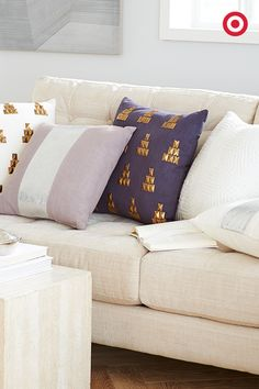 In our book, metallics are basically neutrals—so there's really no wrong way to add them into your decor. These Nate Berkus spring collection pillows are embellished with the perfect amount of metallic details—they're a simple way to add in texture and a soft take on traditionally hard metals.