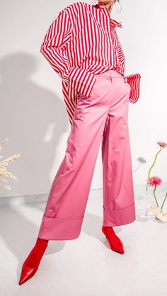 The Marcelle Pant in pink. Wide trouser with folded hem and concealed hook and eye zip closure at front. Loose fit.    -  #fashion #style #clothing #apparel #streetfashion #streetstyle #outfits #womenswear #womensfashion #fashionweek #fashionshow #womensstyle #couture #womensapparel #fashionphotography #fashionista #wear #beauty #wearable #stylish #streetwear #fashiondetails #Accessories #costume #garment #shop #Wardrobe #vogue #studio #shoppingonline #onlinestore #stylist #red #pink #shirt