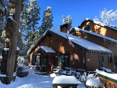 The morning after a snow storm at Arrowhead Pine Rose Cabins.