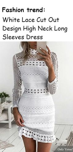 Work this seriously standout mini dress this season. It is adorned with high neck, long sleeves and lace details. We love it with high heels