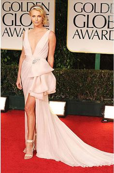 Faviana Charlize Theron Golden Globes Inspired Ivory Chiffon Bow Gown