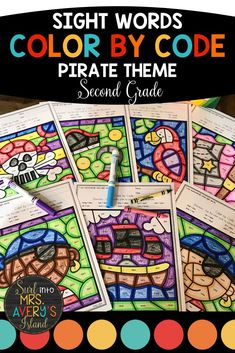 These pirate themed color by sight word printables are a perfect way for your second grade students to practice and master their sight words.  If you are looking for some fun sight word activities for kids that are guaranteed to help increase their reading fluency, these differentiated worksheets will not disappoint!  Perfect for morning work, literacy centers, RTI, fast finisher activities, inside recess days, your sub tub, and so much more! #secondgrade #sightwords #dolch #fry #colorbycode