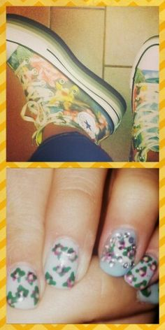 Kinda floral outfit: special nail art, light blue w/pink flower and dark green leaves. The ring finger nail art stays in a white heart of strasses.  Shoes: so comfortable floral all stars.. So lovely ♥ #spring #summer #diy #swag #lightblue