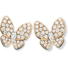 Two Butterfly earrings (460,680 MXN) ❤ liked on Polyvore featuring jewelry, earrings, earring jewelry, monarch butterfly earrings, butterfly earrings, monarch butterfly jewelry and white gold earrings