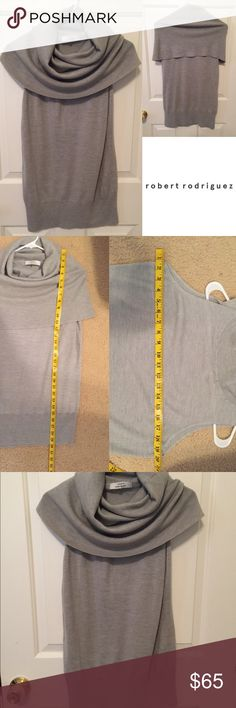 Gorgeous merino wool cowl neck pullover in grey Size large. By Robert Rodriguez. In perfect condition with no flaws that I can see. ❌trades or off-site transactions.I offer a variety of sizes in my closet therefore I do NOT model items.•I will counteroffer with the best value I can offer•I have 2 littles &🚑 an illness that sometimes requires serious medical attention 📬shipping may take a little longer because of my illness but usually I get it out within 2 days.Thank you for shopping my…