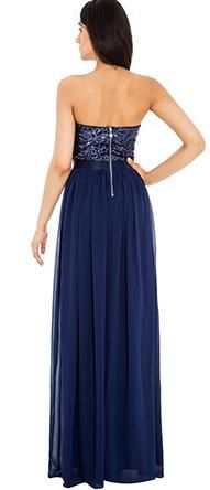 BG4620 in store now. Beautiful sequined strapless top and flowy skirt in navy chiffon.See more evening gowns on bridalandball.co.nz