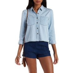 Charlotte Russe Lt Wash Denim Cropped Denim Chambray Button-Up Top by... ($26) ❤ liked on Polyvore