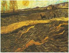 Enclosed Field with Ploughman by Vincent Van Gogh Painting, Oil on Canvas Saint-Rémy, France: August -late in month, 1889 http://www.vangoghgallery.com/catalog/Painting/108/Enclosed-Field-with-Ploughman.html
