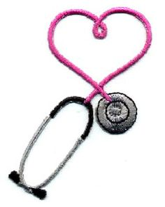 IRON ON PATCH/APPLIQUE Embroidered Fuchsia Stethoscope ~ Available In 9 Colors  Sell one like this  	  IRON ON PATCH/APPLIQUE Embroidered Fuchsia Stethoscope ~ Available In 9 Colors