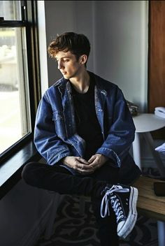"open w/ troye ] i sit at the window, looking down at some passing cars. out of do the corner of my eye i see you sit across from me. ""hi."" you smile and i look up at you, returning your smile. ""hey."""