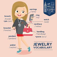 Jewelry Vocabulary - Repinned by Chesapeake College Adult Ed. We offer free classes on the Eastern Shore of MD to help you earn your GED - H.S. Diploma or Learn English (ESL) . For GED classes contact Danielle Thomas 410-829-6043 dthomas@chesapeake.edu For ESL classes contact Karen Luceti - 410-443-1163 Kluceti@chesapeake.edu . www.chesapeake.edu