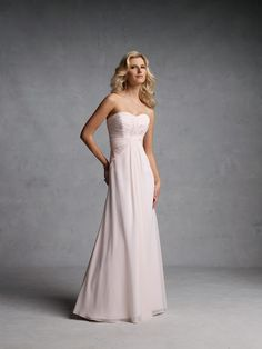 Bridesmaid. Strapless chiffon gown with ruched band on bodice, sequin accent and soft skirt. Matching shawl and removable straps included.