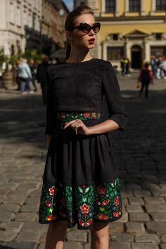 A Chic Embroidered Black Dress Set  that consists of two parts that allows you to combine with other items in your wardrobe to create different looks.  Made-to-measure  available to fit your exact measurements.