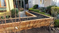 Lined, filled & ready to plant with fruits & veggies in a month or two.