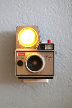 Custom nightlights made from vintage cameras