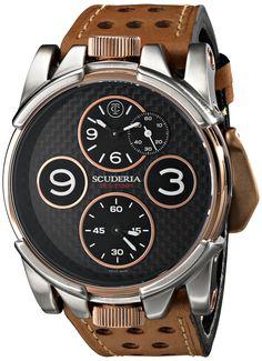 CT Scuderia Men's CS40301 Analog Display Swiss Quartz Brown Watch
