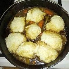Dumplings Recipe, no eggs. Made these dumplings the other day and the kids loved it! Beef Stew With Dumplings, Best Dumplings, Homemade Dumplings, Crockpot Dumplings, Chicken Dumplings, Chinese Dumplings, Soup Recipes, Crockpot Recipes, Recipes