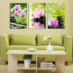 Purple Orchid Flower Bamboo Stone 3 Pieces Giclee Art Work Canvas Prints Zen Art Wall Decor Spa Massage Treatment Painting #Affiliate